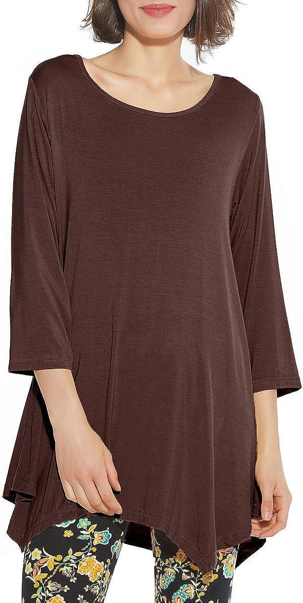 BELAROI Women 3/4 Sleeve Swing Tunic Tops Plus Size T Shirt