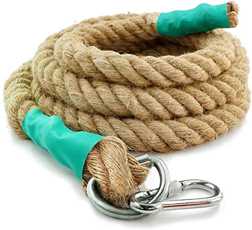 Aoneky Gym Climbing Ropes with Clip for Training, Fitness, Strengthen Muscle Power, Battle, Exercise, Extra Thick 30mm, 40mm Diameter