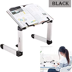 Adjustable Book Stand, Height and Angle Adjustable Ergonomic Book Holder with Page Paper Clips for Big Heavy Textbooks Music Books Tablet Cook Recipe Durable Lightweight Aluminum Book Holder