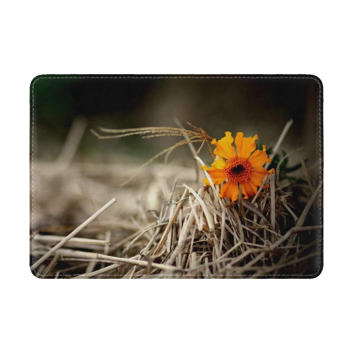 Flower Bright Hay Straw Leather Passport Holder Cover Case Travel One Pocket
