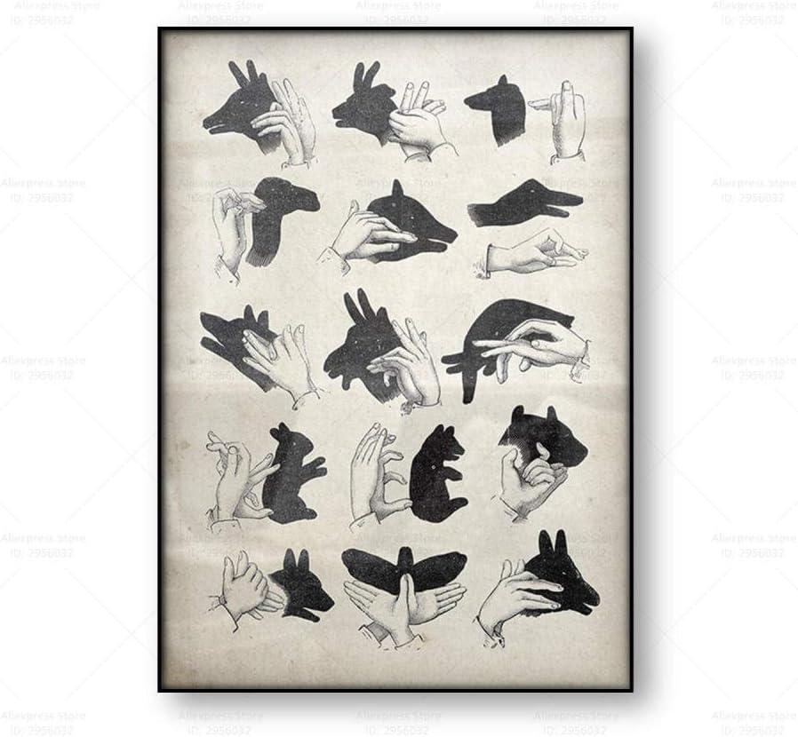 N / A Vintage Poster Mano Sombra Marionetas De La Lona Pared Arte Imprimir Antiguo MáGico Arte Animal De La Lona Pintura Negro Blanco Cuadro Inicio Decoracion 50x70cm No Marco