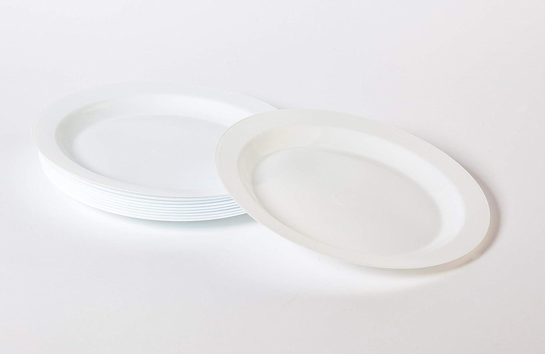 Grandes Calidades Blanco Vajilla Desechables para Catering Bodas Fiestas Cumplea/ños Navidad Pack 100 Platos Pl/ástico Duro Lavable y Reutilizable Llano Grande 23cm