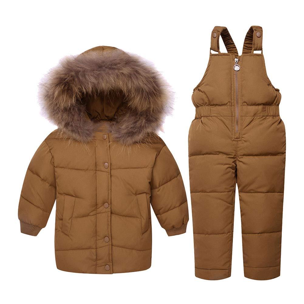 LSHEL Baby Mädchen Junge Winter Schneeanzug Daunenjacke Stepphose Winterjacke Mit Kapuze Down Jacket 2tlg Bekleidungsset Verdickte Winterjacke