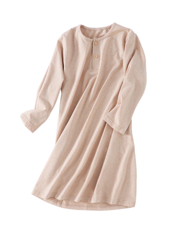 MZLIU Soft Organic Cotton Pajamas Dress For Girls Kids Sleepwear Nightgown(3y-13y)