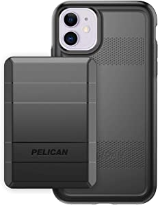 Pelican iPhone 11 Case, Protector Series – Military Grade Drop Tested, TPU, Polycarbonate Protective Case for Apple iPhone 11 - with EMS Rechargeable Battery Pack (Black) (C56220-001A-BKBK)