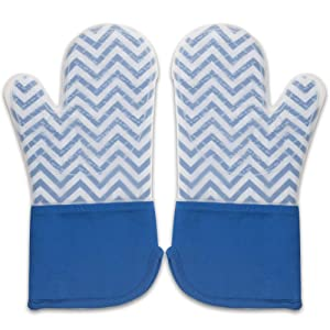 Buzhan Silicone Oven Mitts, Heat Resistant 500 Degrees, Safe and Flexible Long Kitchen Mittens for Cooking, Grilling and Barbecue