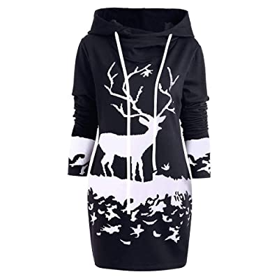 Ansenesna Weihnachten Kleid Damen Hoodie, Knielang Langarm Elegant Sweatshirt Kleider Mit Kapuze Frauen Slim Fit Für Festlich