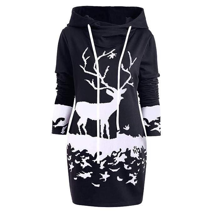 Yvelands Womens Christmas Sweatshirts Monocromo Reno Impreso Moda Hoodies Vestido Mini cordón: Amazon.es: Ropa y accesorios