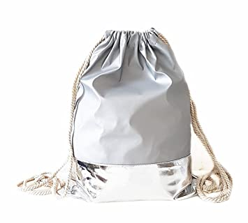 4b5281a96a895 Lolita Turnbeutel Rucksack Gym Bag Sportbeutel Hipster Beutel Grau Silber  Streifen