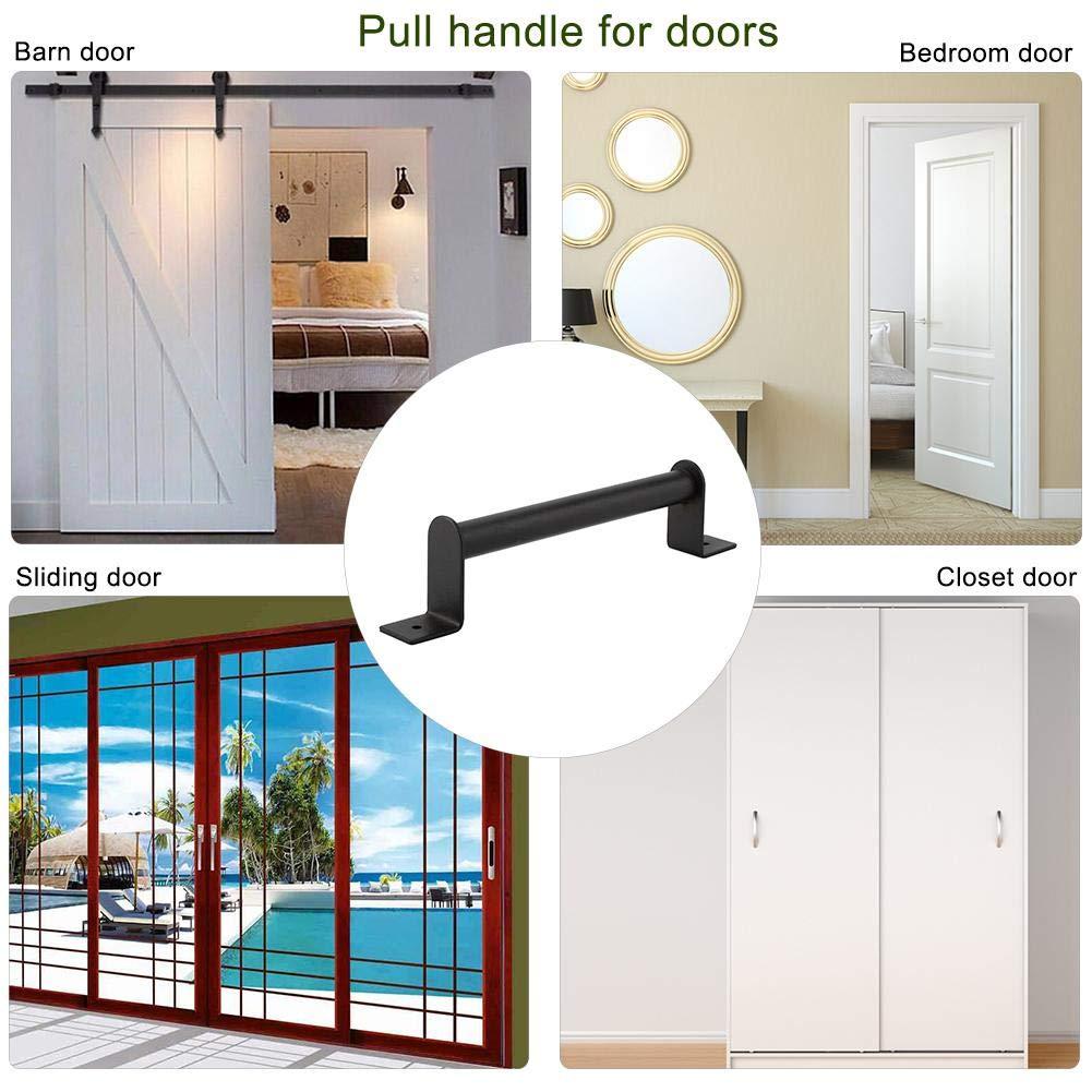 Manija de puerta de granero de acero inoxidable Manija de tirador de acero al carbono resistente negro para puerta corrediza, puerta de entrada, ...