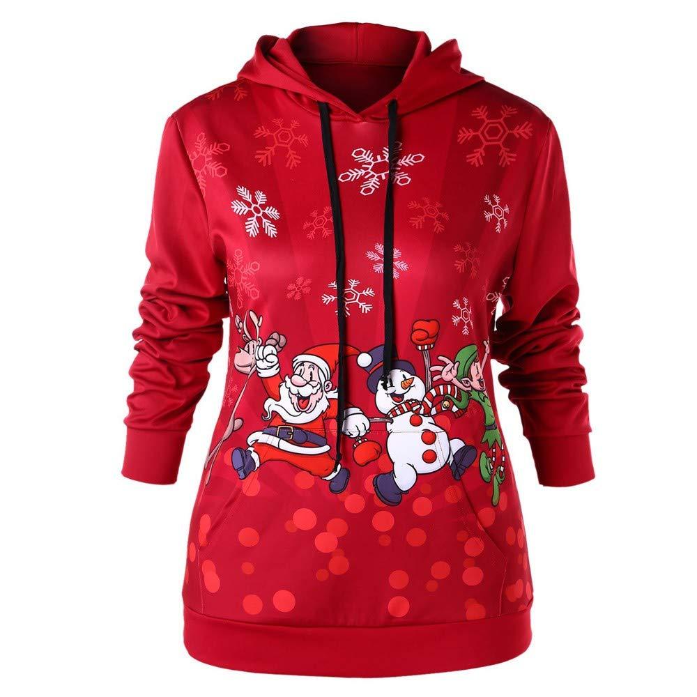 FANOUD Loose Tops Christmas Santa Claus Snowflake Print Hooded Sweatshirt