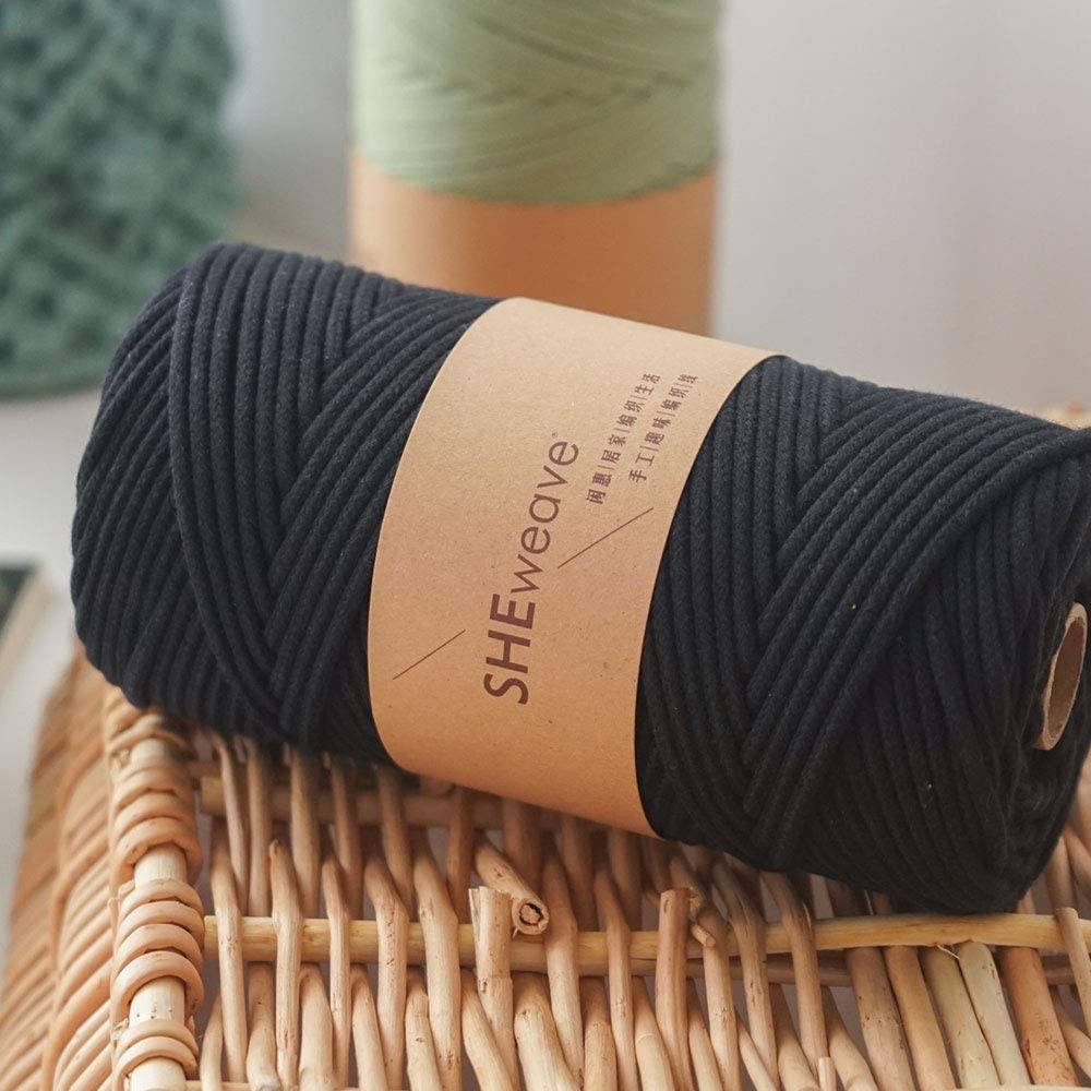 Black, 3mm x 109yd Macrame Cord 3mm x 109Yards,Macrame Rope,100/% Natural Cotton Cord for Macrame Supplies,Boho Bag,Crafts,Decorative Projects