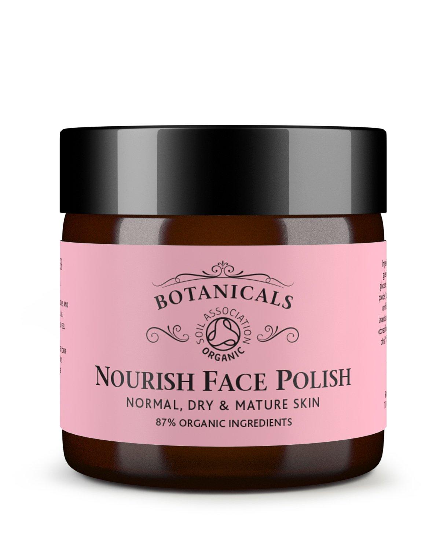 Botanicals Nourish Face Polish - Skin Brightening, Exfoliating Cleanser & Moisturiser, Rose & Camellia, 100% Natural & Certified Organic Ingredients (60g)