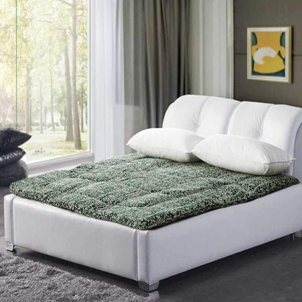Love Home Tatami-Matratze, Fußmattenauflage, Japanisches Multifunktions-Blumen-Design, 4 Jahreszeiten, Studenten-Schlafmatratze, Schlafmatte, Schlafmatte, Schaumstoff, grün, 180x200cm(71x79inch)