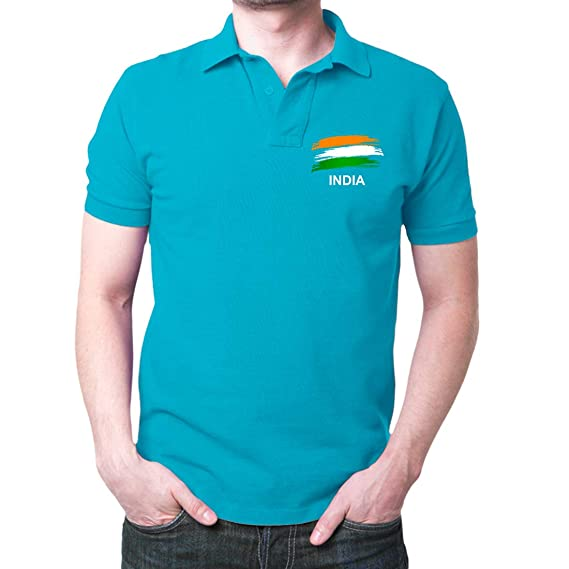 aa791845f4f84b Fashion And Youth Men's India Flag Cotton Polo T-Shirt (Turquoise, Small)