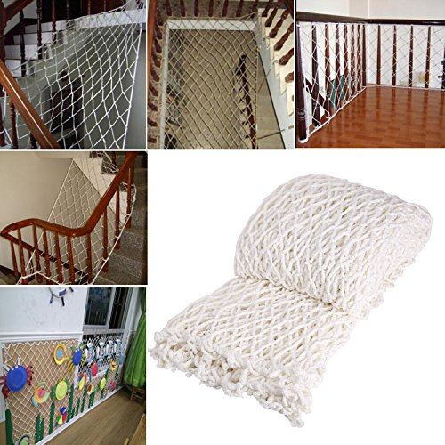 Multifunctional Cargo Rope Outdoor Plant Climbing Balcony Stairway Safety Frame Natural Net Decor White 6mm 2x3m (Climbing Rope Net)