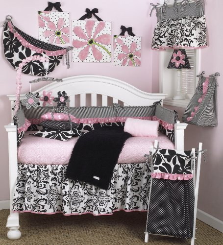(Cotton Tale Designs Girly 8 Piece Nursery Crib Bedding Set - 100% Cotton Black & White Contemporary Floral, Stripes, Damask, with Pink Polka Dots and Animal Print - Baby Shower)