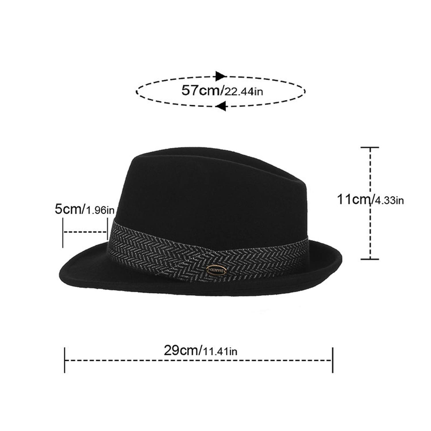 KKONION Men Jazz Cap Gentleman Fedoras 100/% Wool Homburg Male Classical Narrow Brim Ribbon Jazz Hat