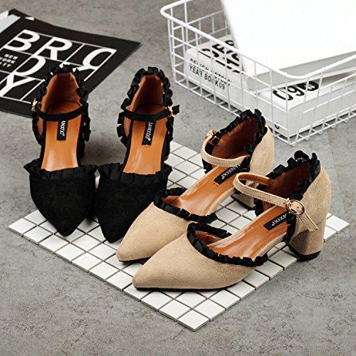 ruvido Sandali scarpe UE moda estiva black da con tacco donna RUGAI 7S6xwpqx