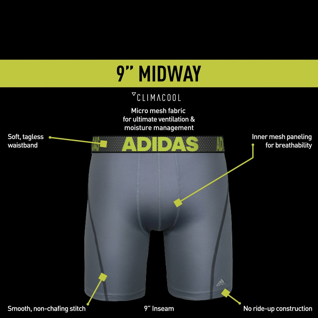 0f88ace62f61 Amazon.com: adidas Men's 9-Inch Sport Performance ClimaCool Midway Underwear  (Pack of 2): Sports & Outdoors