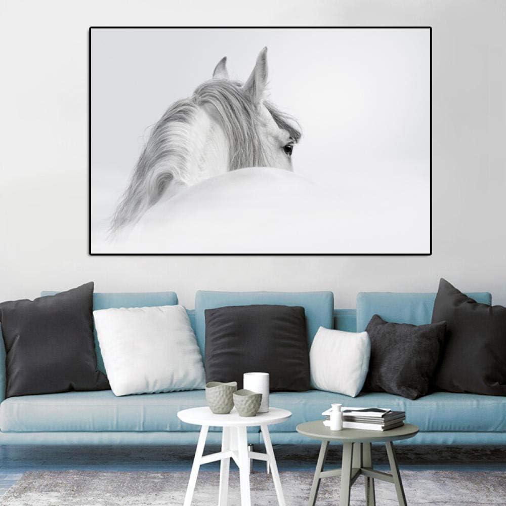 Carteles e Impresiones Lienzo Pintura Dos Caballos Blancos Arte Moderno Animal Imágenes de Pared para Sala Cuadros Decoración para el hogar Sin marco60x120cm sin Marco