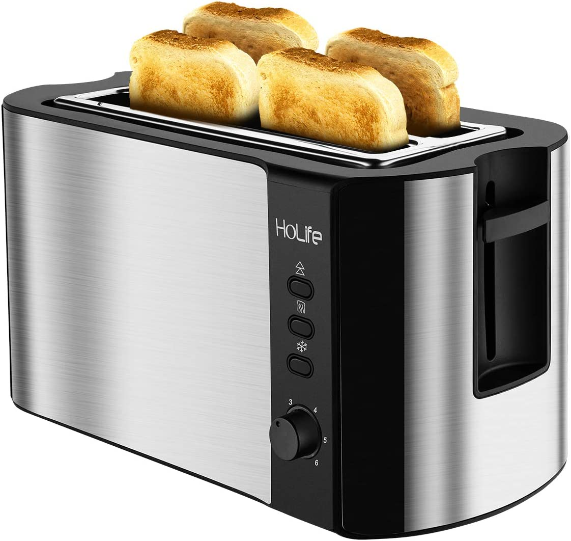 HoLife 4 Slice Long Slot Toaster Best Rated Prime, Stainless Steel Bread Toasters Warming Rack, 6 Bread Shade Settings, Defrost Reheat Cancel Function, Extra Wide Slots, Removable Crumb Tray, 1300W