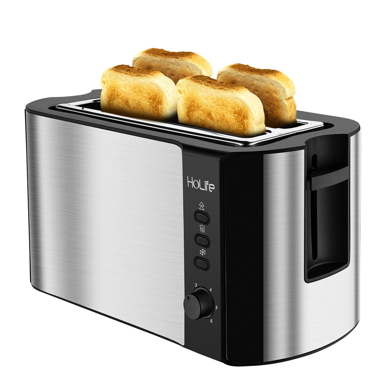 HoLife 4 Slice Long Slot Toaster Best Rated Prime, Stainless Steel Bread Toasters(Warming Rack, 6 Bread Shade Settings, Defrost/Reheat/Cancel Function, Extra Wide Slots, Removable Crumb Tray, 1500W) by Holife