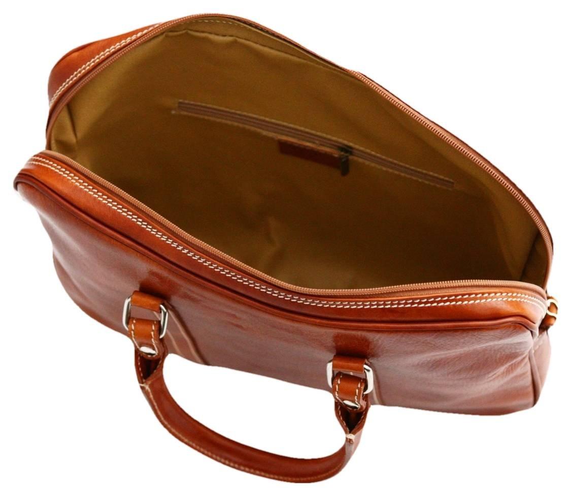 Tan David Van Hagen Mens Twin Handle Briefcase