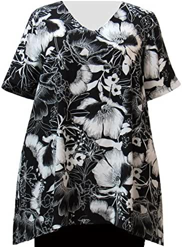 A Personal Touch Black & White Blossoms Women's Plus Size Top