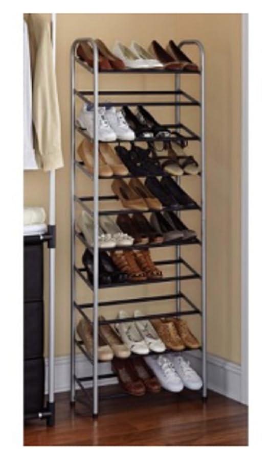 Amazon.com: Mainstays 10-tier Shoe Rack, plata: Home & Kitchen