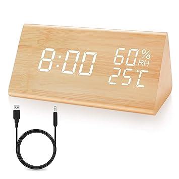 JOYNOTE LED Despertador Reloj Despertador Digital Textura de Madera Clock Control de Voz con Fecha / Semana / Temperatura / Humedad y 3 Brillo Ajustable ...