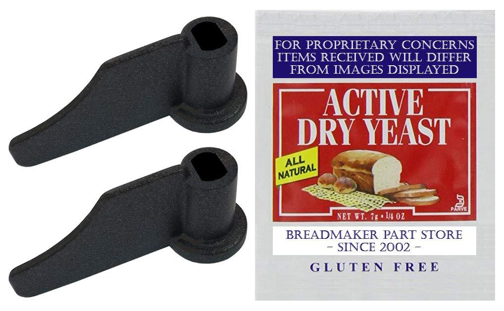 NEW Kneading Paddle Set Fits Standard 2.5-Lb Single-Loaf Pan On WEST BEND MODEL # 41300 Hi-Rise Breadmaker Part Bread Maker Machine Knead Bar Mixing Blade Arm QVC K-132670 [Kneader Pair/Yeast Bundle]