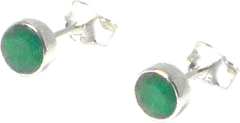 Pendientes de esmeralda de plata de ley 925Gemstone Stud/pendientes–5mm (emst0610171)