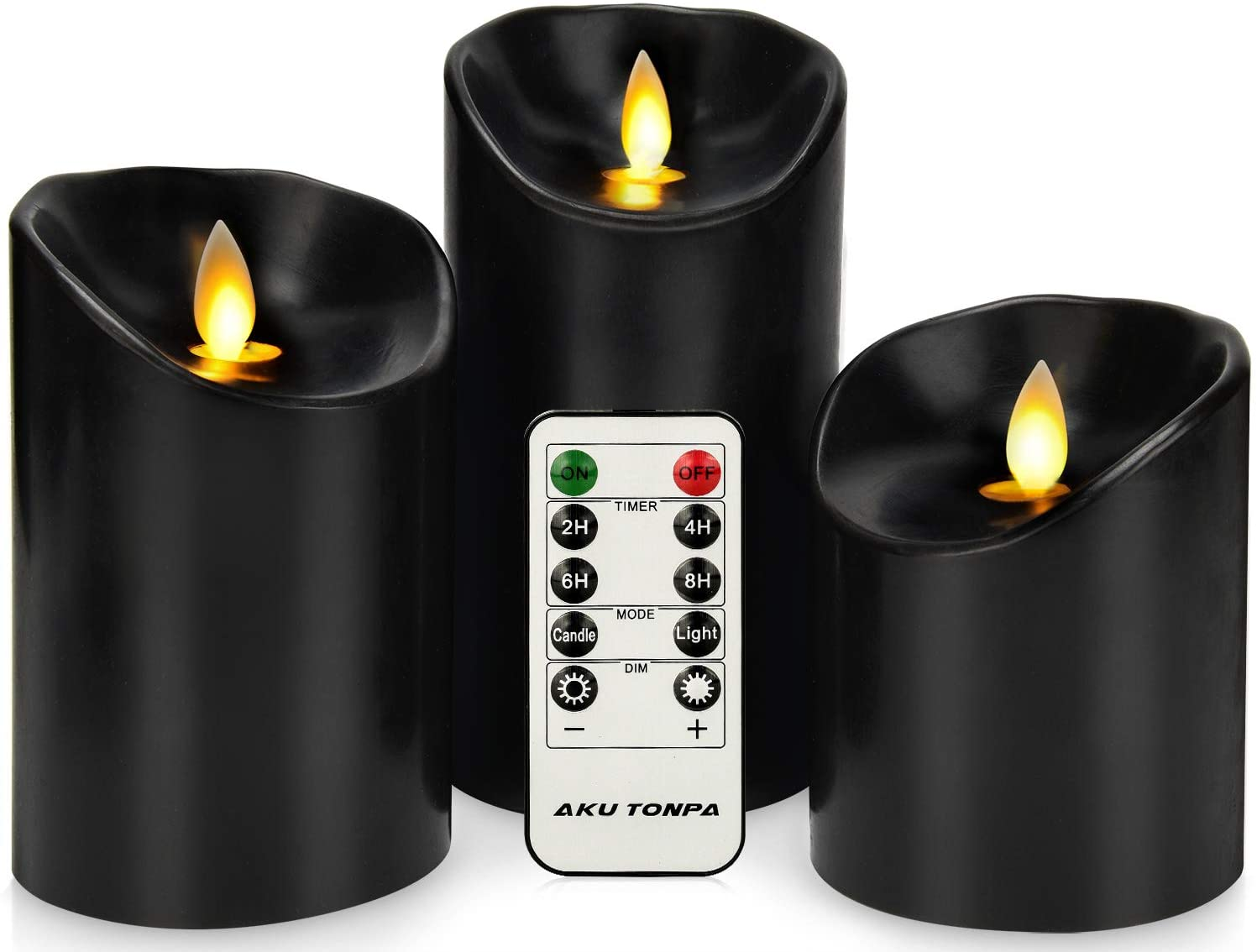 """Aku Tonpa Flameless Candles Battery Operated Pillar Real Wax Electric LED Candle Set with Remote Control Cycling 24 Hours Timer, Pack of 3 (D:3.25"""" X H:4"""" 5"""" 6"""")"""