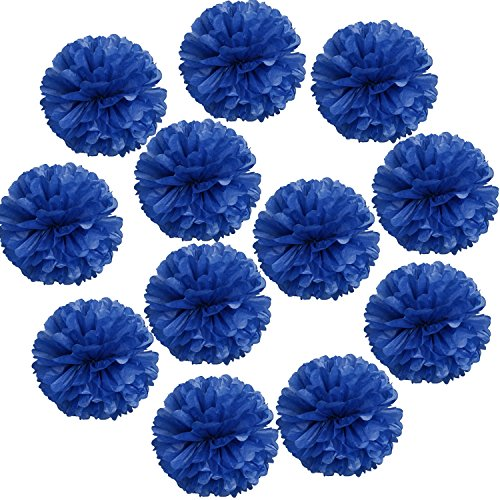 Landisun Wedding Birthday Party Room Decoration Tissue Paper Flower Poms(10 Inches (pack of 12), Royal Blue)