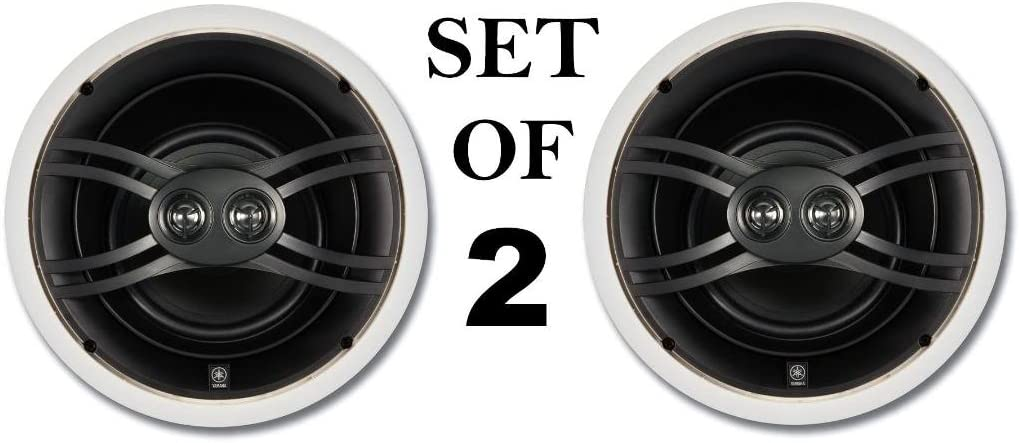 """Yamaha Natural Sound Custom Easy-to-install In-Ceiling 3-Way 100 watts Speaker Set (1 Pair of 2 Speakers) with Dual Tweeters & 6-1/2"""" Woofer for Large Room or 2 Smaller Rooms"""