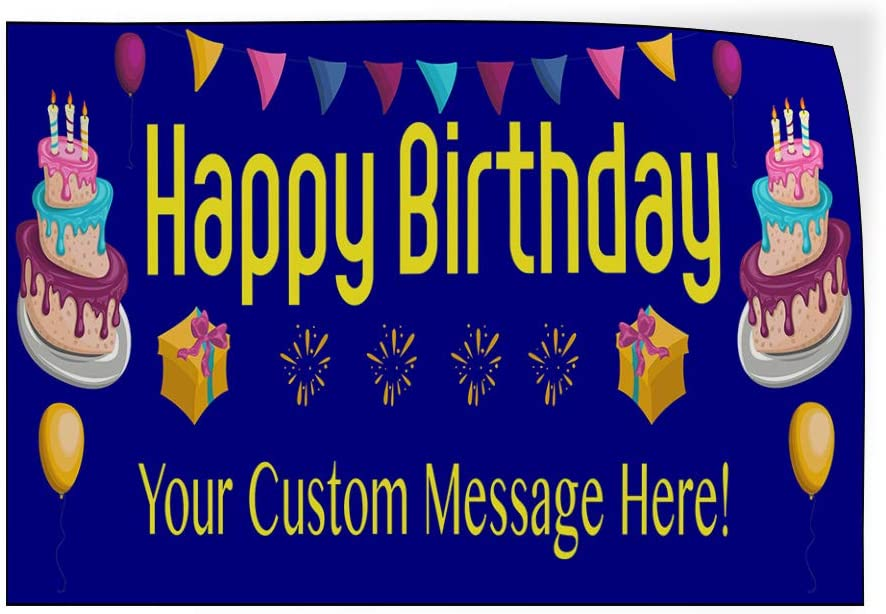 Custom Door Decals Vinyl Stickers Multiple Sizes Happy Birthday Message Blue Holidays and Occasions Happy Birthday Outdoor Luggage /& Bumper Stickers for Cars Blue 20X14Inches Set of 10