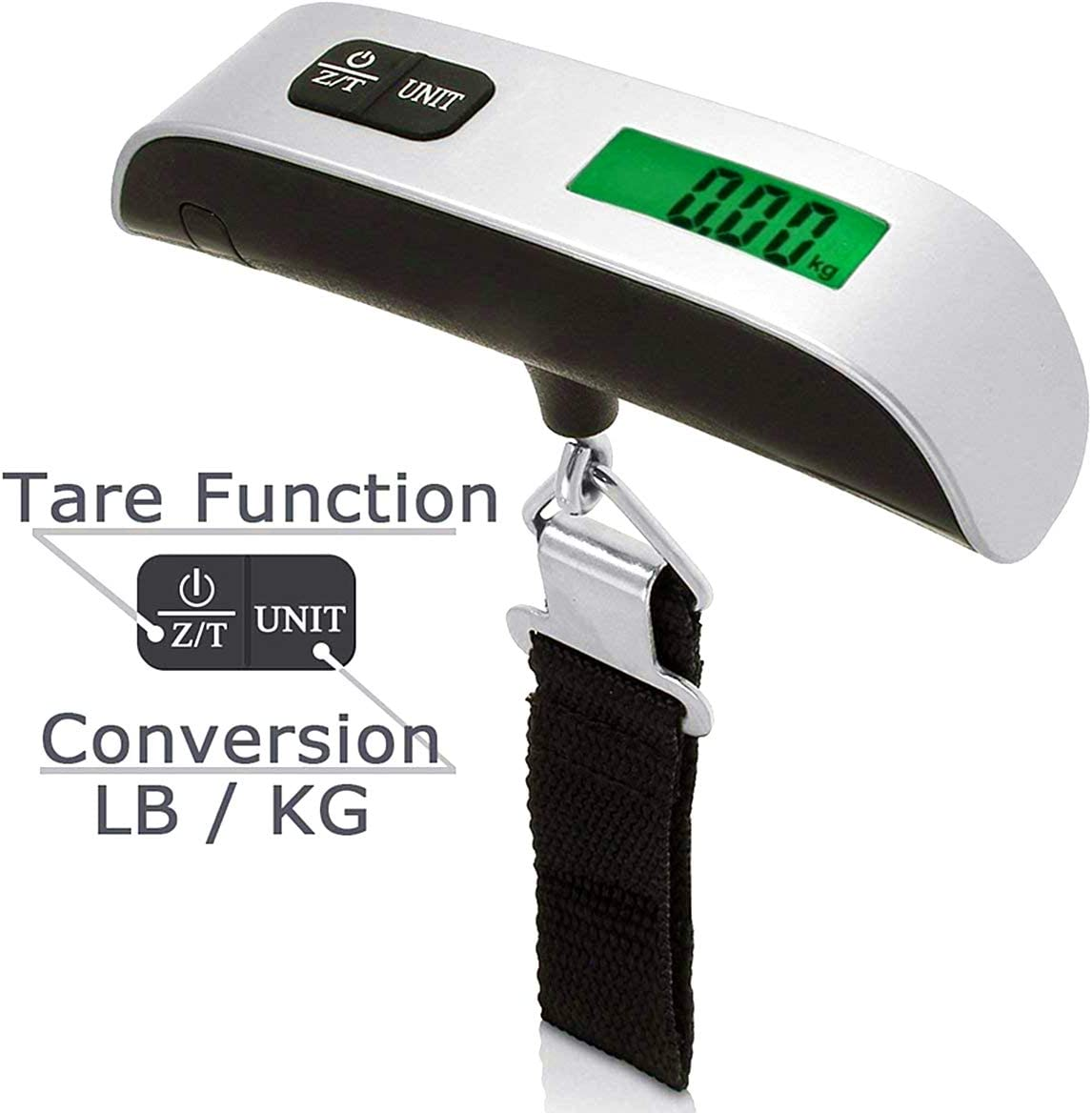110 lb// 50KG Heavy Suspension Travel Luggage Scale with Backlit LCD Display with Tare Function Portable Digital Scale Silver illumafye Digital Luggage Scale