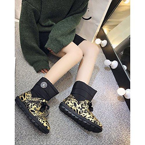 HSXZ Zapatos de Mujer Otoño Invierno PU Confort botas botas de nieve talón plano nulo Ronda Toe botas / Mid-Calf for casual marrón negra Brown