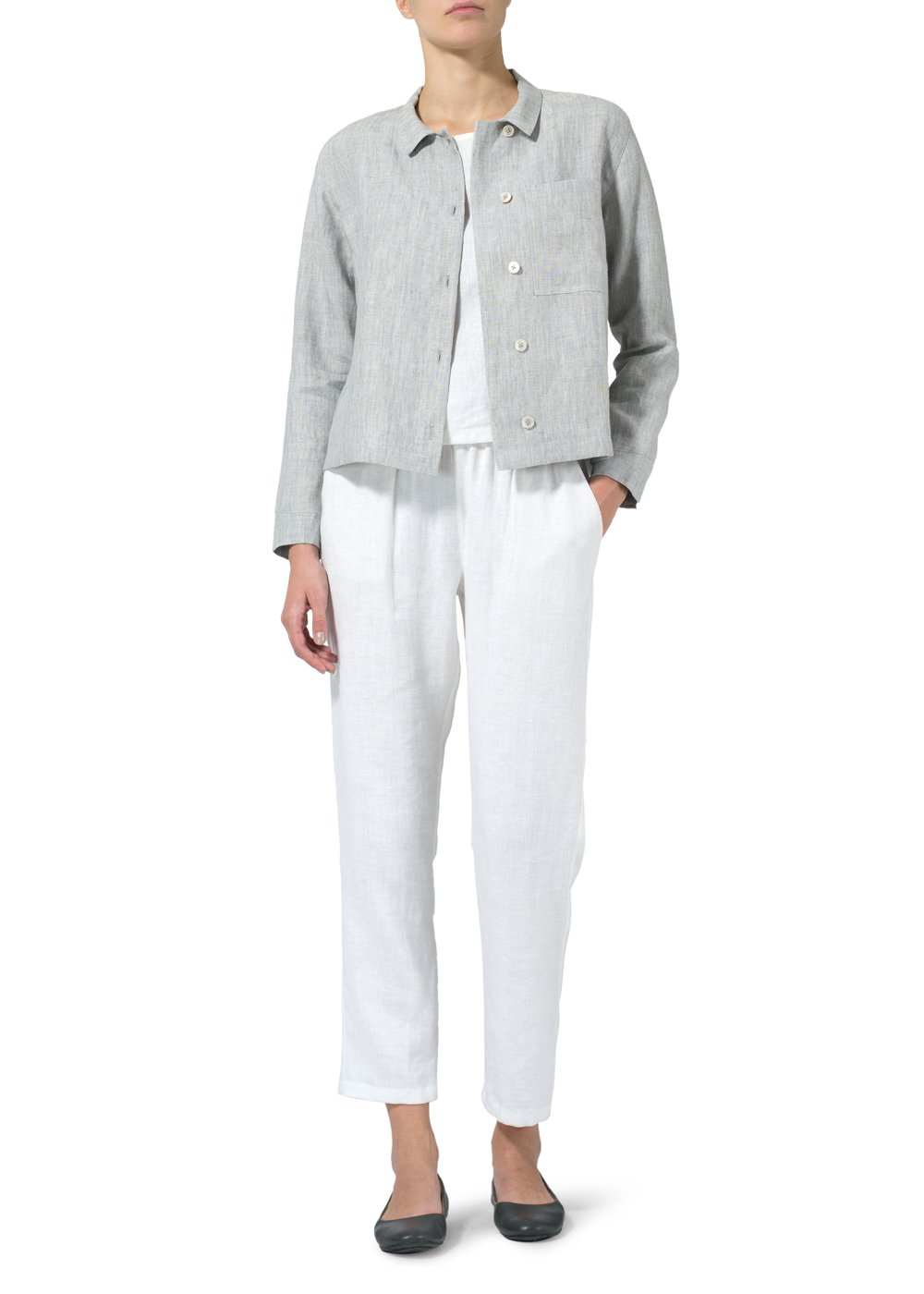 Vivid Linen Cropped Shirt Jacket With Pockets-M-Two Tone Light Gray