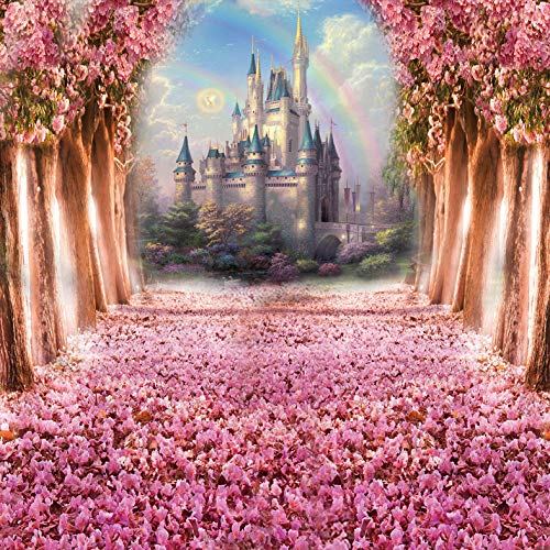 Daniu Cherry Blossoms Spring Photography Backdrop Fairytale Castle Children Photo Booth Backdground Castle Princess Theme Cake Table Decoration Banner Studio Props for Baby Prince Girl Birthday Party -