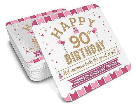 90th Birthday Keepsake Coaster For Women Coffee Or Tea Mug Gift