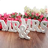 DGQ MR & MRS Wooden Letters for Wedding Decoration Present, Table Top Decoration (3.5-Inch, White)
