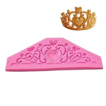Crowner Princess diamantes de imitación Tiara corona de silicona molde para comestible rey corona con forma de tartas para cumpleaños, bodas y fiestas: ...