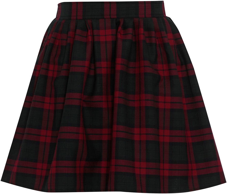 Miss Skinny New Womens RED Black Ladies Tartan Skater Mini Skirt Elasticated Waist Size 8-20