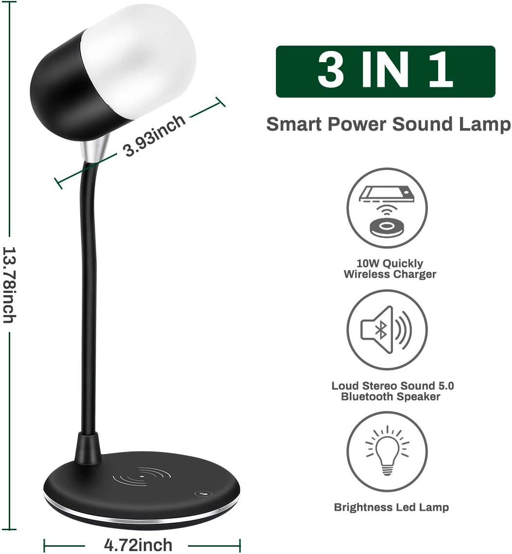 3 Color Modes /& Stepless Levels Dimmer Desk Light Touch Control 360/° Flexible Reading Lamp Powcan 10W LED Desk Lamp with Wireless Charging Pad /& Bluetooth Speaker Eye-Caring Bedside Table Light