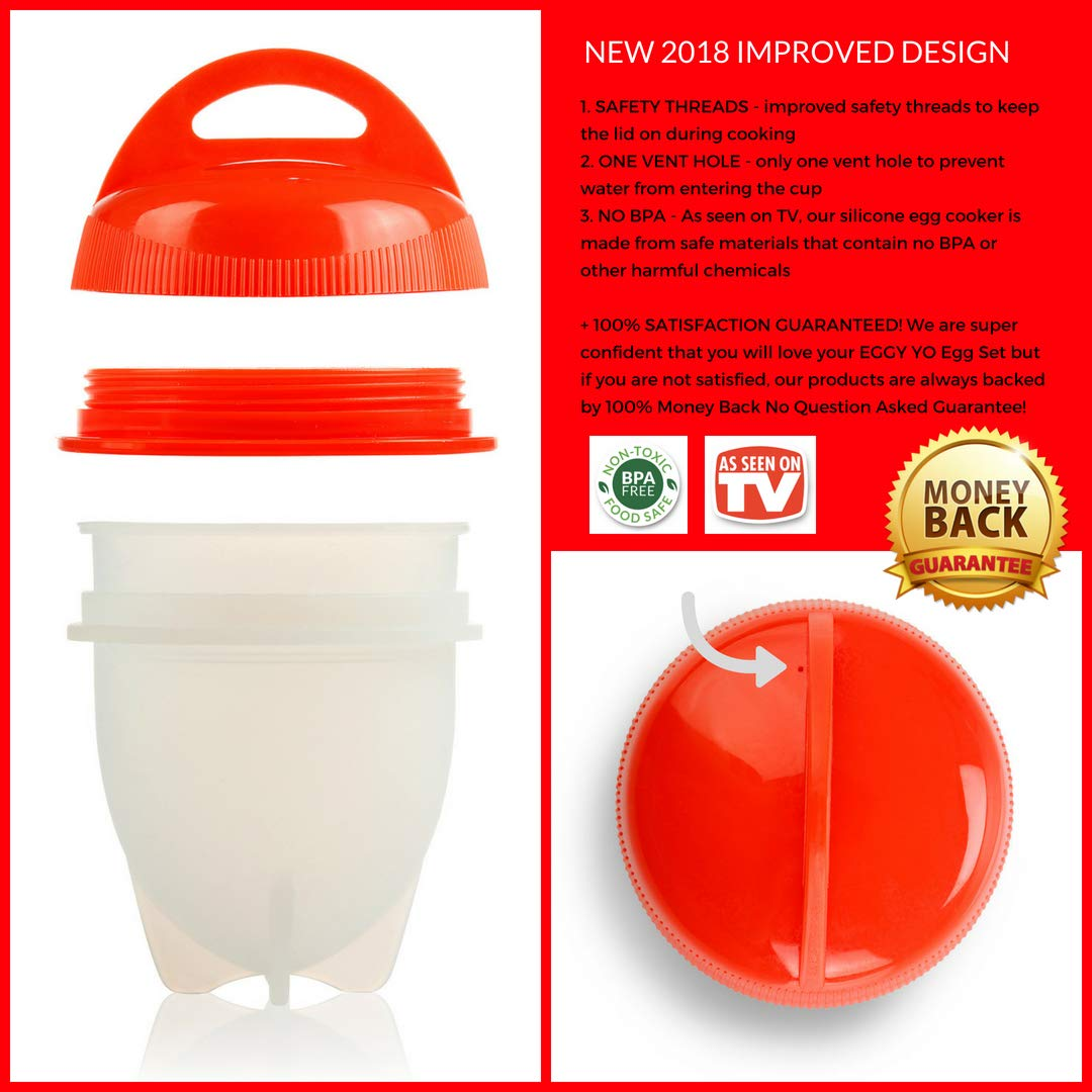 EGGY YO Silicone Hard Boiled Egg Cookers - 6 Egg Cooker Set with Holder and Timer - Egg Boiler No Shell by EGGY YO (Image #5)