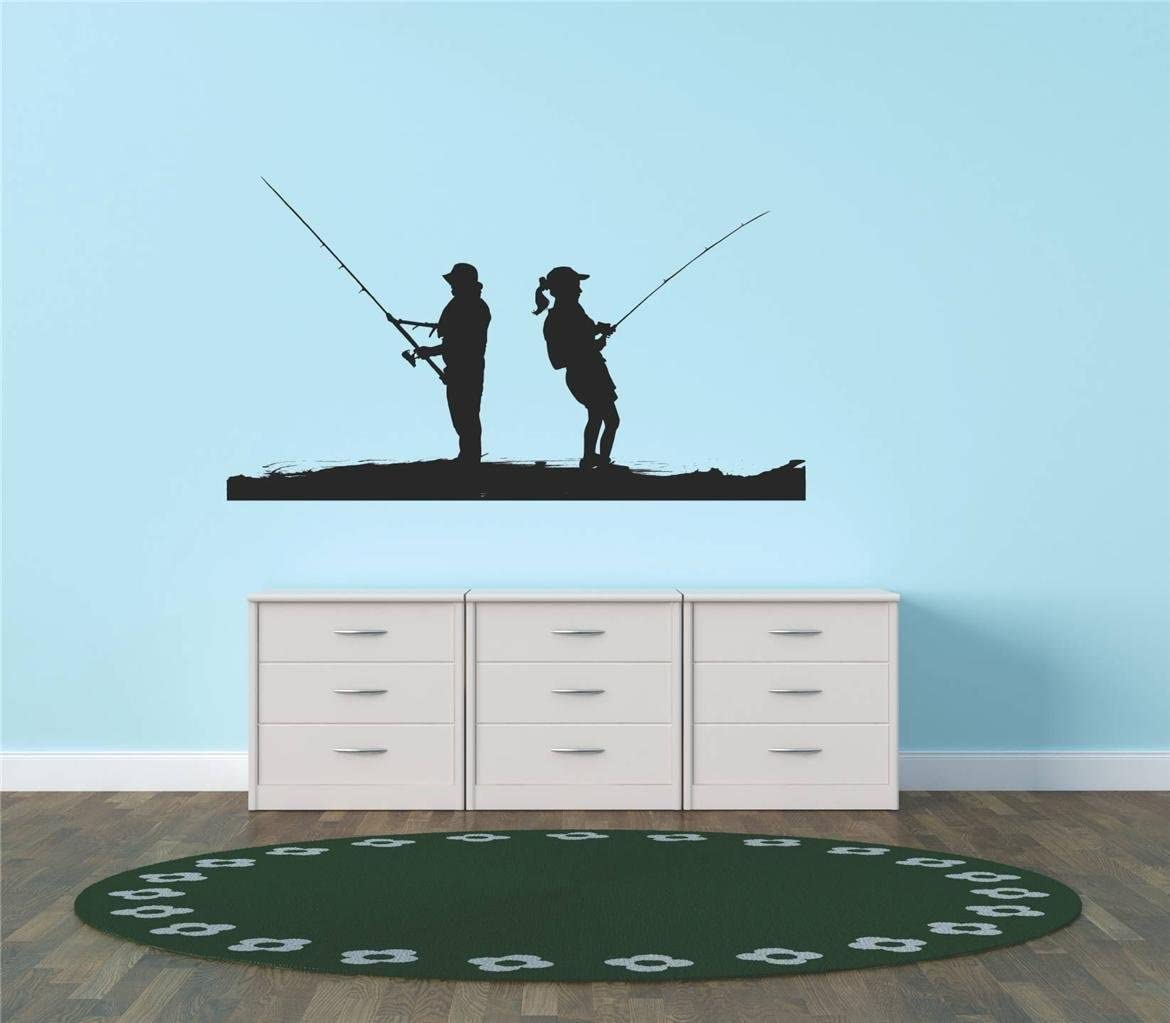 Design with Vinyl Decal 2 Deer 242 Fishing Pole Fish Fishermen Fisherman Water Boat Living Room Bedroom Kitchen Home Decor Graphic Mural Design Decoration Decals & Stickers, 14