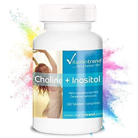 Colina con inositol – 240 comprimidos – Para ¡¡8 MESES!! – Capacidad de concentrarse y la memoria – Alta dosificación