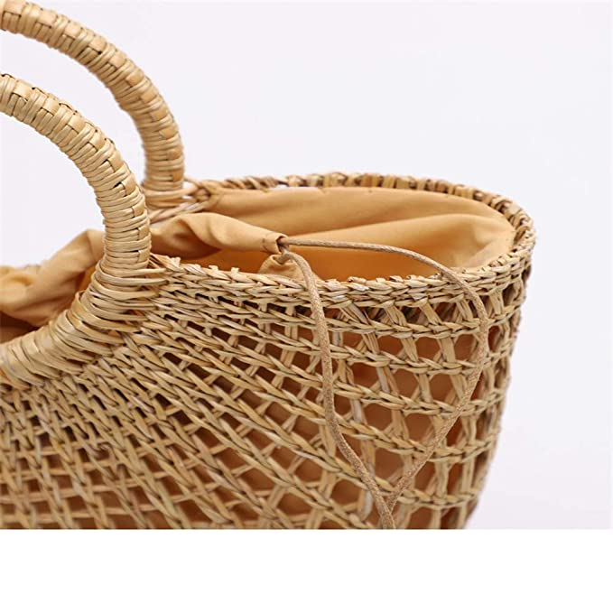 Amazon.com: Crystalzhong Tote Hand Shoulder Bag Card Holder Semi-Circular Hand-Woven Straw Summer Small Bag Portable Rattan Beach Bag Offices Travel Purse ...